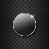 Glass button on a metal background — Stock Photo