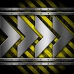 Metallic arrows on striped background — Stock Photo
