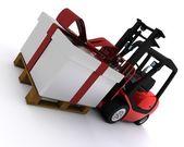 Gabelstapler mit weihnachts-geschenk-box — Stockfoto