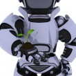 Stock Photo: Robot nurturing seedling plant