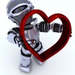 Robot with heart charm — Stock Photo