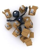 Android with shipping boxes — Stock Photo