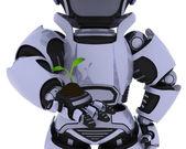 Robot nurturing a seedling plant — Stock Photo