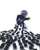 Robot defending against virus attack — Stock Photo