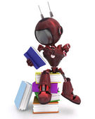 Android with stack of books — Stock Photo