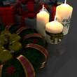 Christmas Garland with gifts and candles — Stock Photo