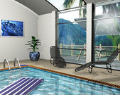 Pool house — Stock Photo