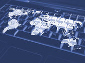 Keyboard with a world map — Stockfoto