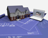House on blueprints — Foto Stock