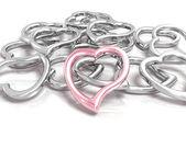 Corações metálicas — Foto Stock