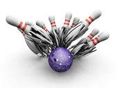 Bowling ball zerschlagung in stifte — Stockfoto