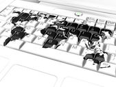 Keyboard with a world map — Stock Photo