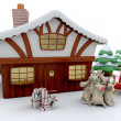 Stock Photo: Santand winter cabin