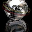 3d chrome globe — Stock Photo