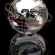 Stock Photo: 3d chrome globe