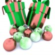 Christmas gifts and baubles — Stock Photo
