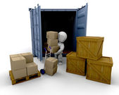Unloading boxes — Stock Photo