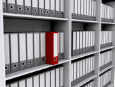 Files on bookshelves — Stock Photo