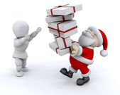 Santa giving gifts — Stock Photo