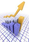 Diagram som visar stigande vinster — Stockfoto