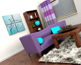 Contemporary interior and sofa — Stock Photo