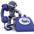 Robot with a traditional telephone — Stock Photo