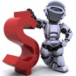 Robot with dollar sign — Stock Photo