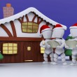 Stock Photo: Carol Singers at Winter Cabin
