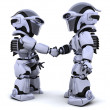 Robots shaking hands — Stock Photo