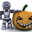 Robot with jack o lantern pumpkin — Stock Photo #37377585