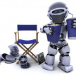 Robot with popcorn and soda with directors chair — Stock Photo