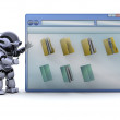 Robot with computer window and folder icons — Stock Photo