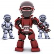 Red robot leading team — Stock Photo #37377795