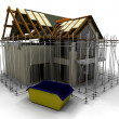Foto Stock: Contemporary house under construction with scaffold