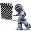 Robot waving chequered flag — Stock Photo #37378003