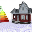 Classic Timber House with Energy ratings — Stock Photo