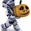 Robot with jack o lantern pumpkin — Stock Photo #37378301