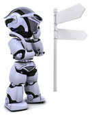 Robot at a signpost — Stock Photo