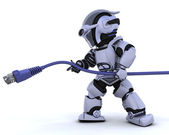 Robot with RJ45 network cable — Stock Photo