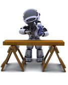 Robot with power saw cutting wood — Стоковое фото