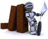 Robô com tijolos e colher de pedreiro — Fotografia Stock