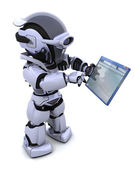 Robot navigating through computer window — Stock Photo