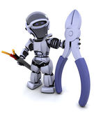 Robot with wire cutters and cable — Stock Photo