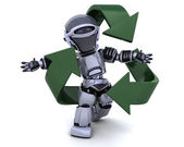 Robot and recycle sign — Stock Photo