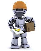 Robô no capacete de segurança com área de transferência — Fotografia Stock