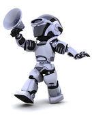 Robô gritando no megafone — Fotografia Stock