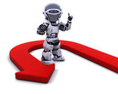 Robot with u-turn arrow — Stock Photo