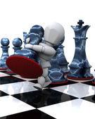 Hombre jugando al ajedrez moviendo un peón — Foto de Stock