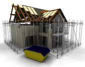 Maison contemporaine en cours de construction avec l'échafaudage — Photo