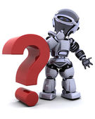 Robot with question mark — Stock Photo